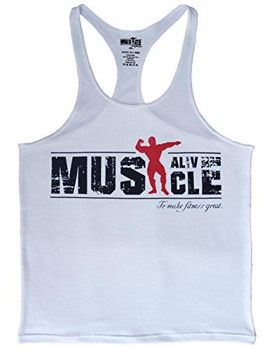 ac19c588e7ef3 MUSCLE ALIVE Mens Bodybuilding Stringer Tank Tops Cotton Racerback Size XL  White